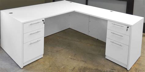 l desk white white 4 office furniture package