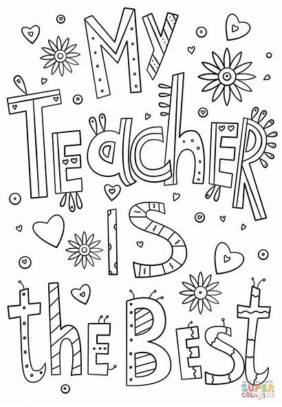 Coloring Teacher Pages Doodle Printable Drawing Paper