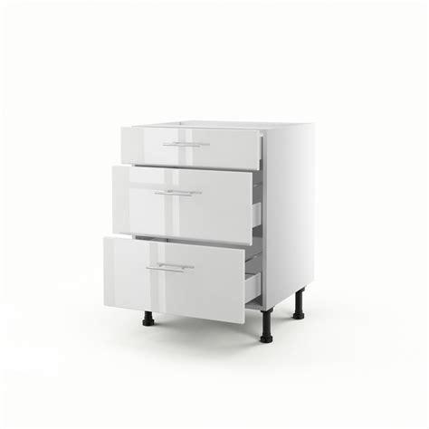 meuble cuisine largeur 55 cm meuble de cuisine bas blanc 3 tiroirs h 70 x l 60 x p