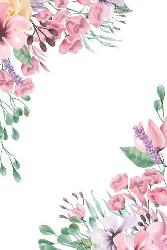 beautiful watercolor flowers floral corners frame border