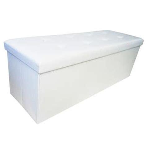 banc coffre de rangement blanc banc tabouret pliable avec coffre de rangement 110x38x38cm pouf simili cuir blanc achat