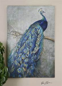 blue peacock canvas wall art peacock passion pinterest With peacock wall art