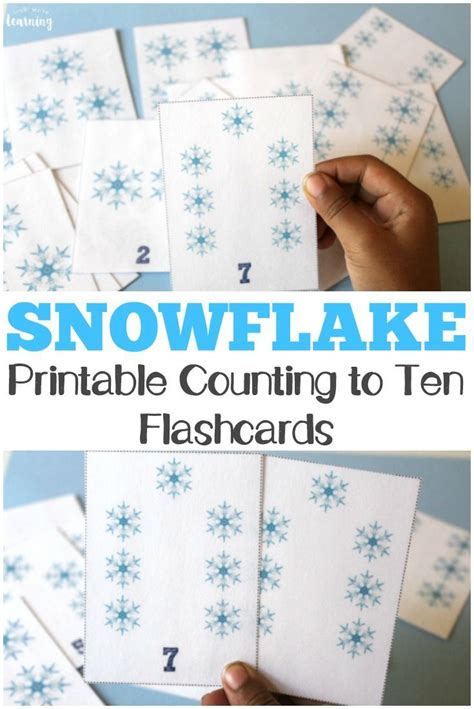 printable snowflake counting flashcards  kids