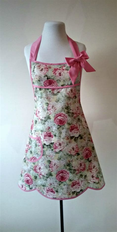 shabby chic apron shabby chic apron pastel floral full apron vintage style full apron pale pink apron