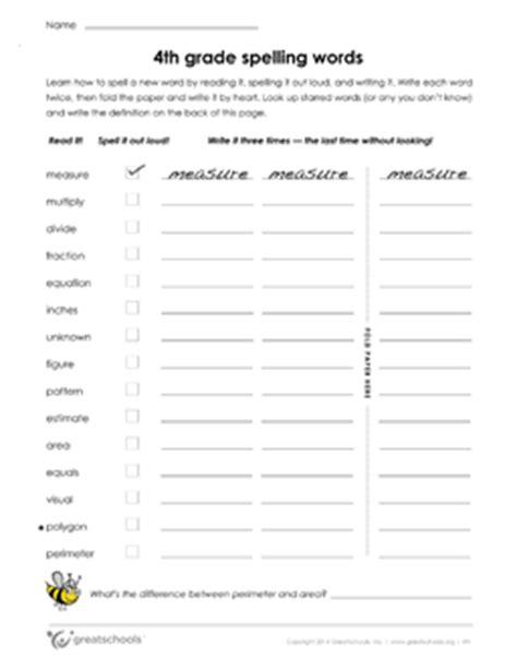 4th grade reading worksheets 4th grade spelling words