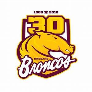 Brisbane Broncos 30 Years Logo Third Sports Design By