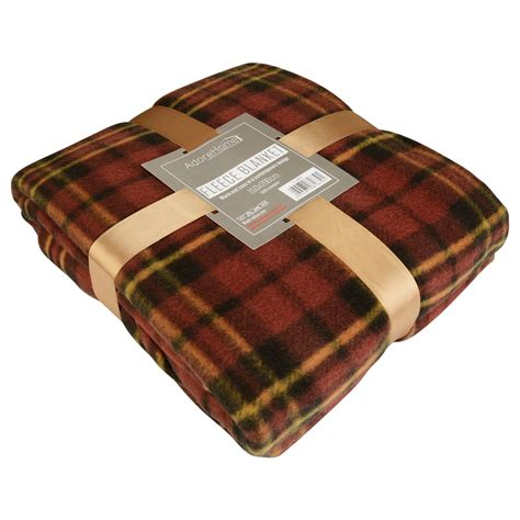 soft warm single double tartan check sofa throw bed fleece