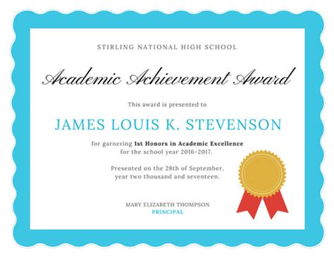 academic excellence certificate templates  canva