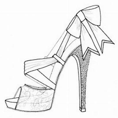 Heel Coloring Shoe Drawing Pages Shoes Drawings