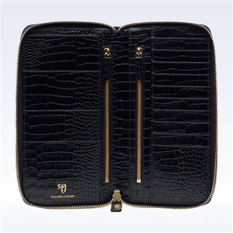 Black Croc Leather Zipped Travel Document Holder Travel