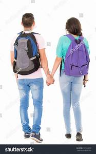 Couple Students Backpack Walking Away On Stock Photo ...