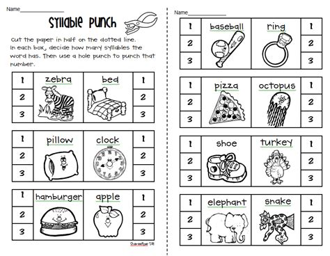 kindergarten syllable worksheet pictures syllable