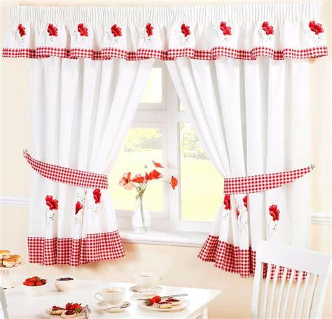 Drapes In Kitchen - poppy flower voile cafe net curtain panel kitchen