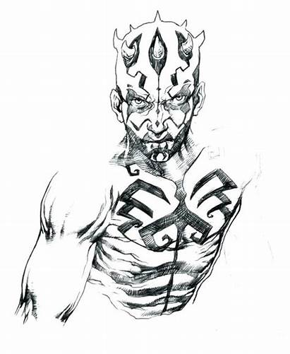 Darth Maul Coloring Wars Star Pages Drawing