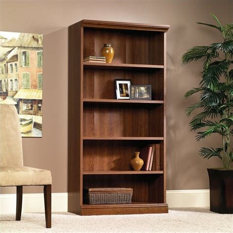 Sauder Bookcase Cherry by Sauder Camden County Library 5 Shelf Planked Cherry