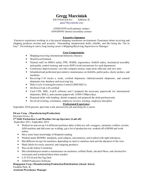 warehouse shipping manager resume shipping and receiving manager resume