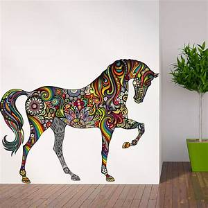 Horse of many colors wall decal contemporary