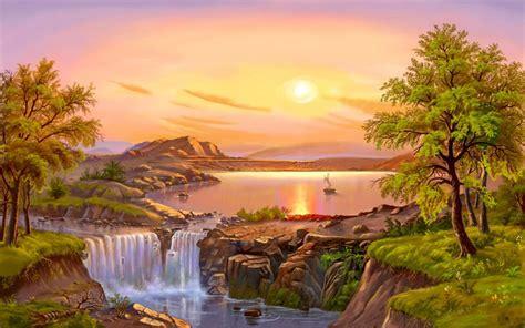 beautiful landscape river trees waterfall sun