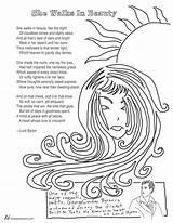 Poem Coloring She Walks Beauty Byron Lord Hughes Langston Poet Getdrawings Sketch Template sketch template