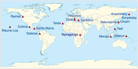 Carte Des Volcans Actifs Dans Le Monde by Carte Mondiale Des Volcans