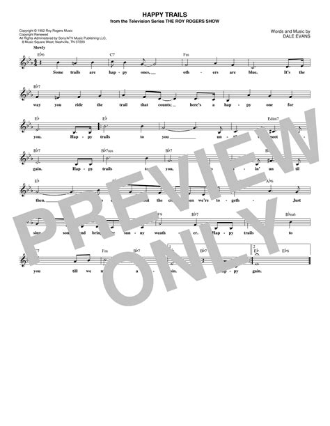 The site contains over 3,500 nursery rhymes, cartoons and kids' songs. Roy Rogers - Happy Trails sheet music