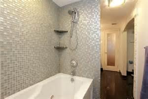 Chrome Framed Mirror by Interior Jacuzzi Tub Shower Combination Grey Bathroom