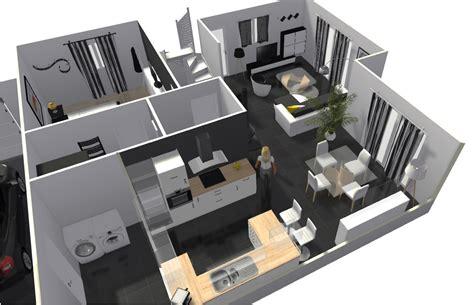 plan maison cuisine ouverte merveilleux plan maison cuisine ouverte 6 r233aliser