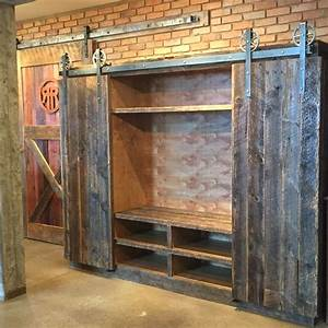 bob39s entertainment center crafted with reclaimed barn With barn door style entertainment center