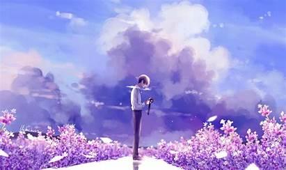 Flowers Wallpapers Digital Lavender Illustration Anime Clouds