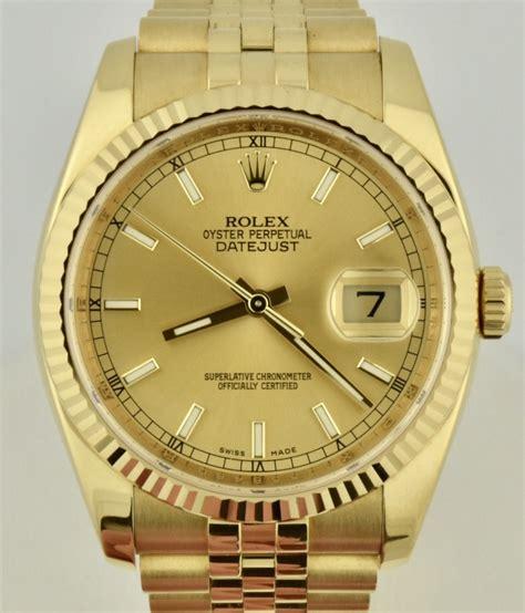 s rolex 36mm datejust 18k yellow gold 116238 box card