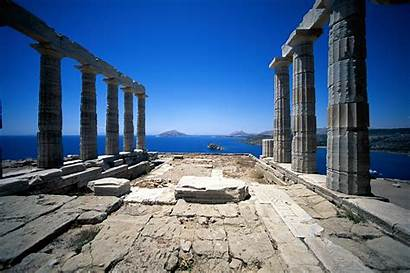 Temple Poseidon Greece Wallpapers Sounion Ruins Athens