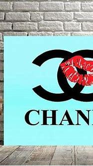 chanel aqua blue teal coco chanel logo red lips print or ...