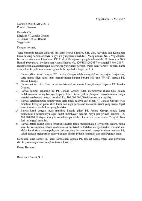 Contoh Surat Permintaa by Contoh Surat Somasi Yang Baik Dan Benar