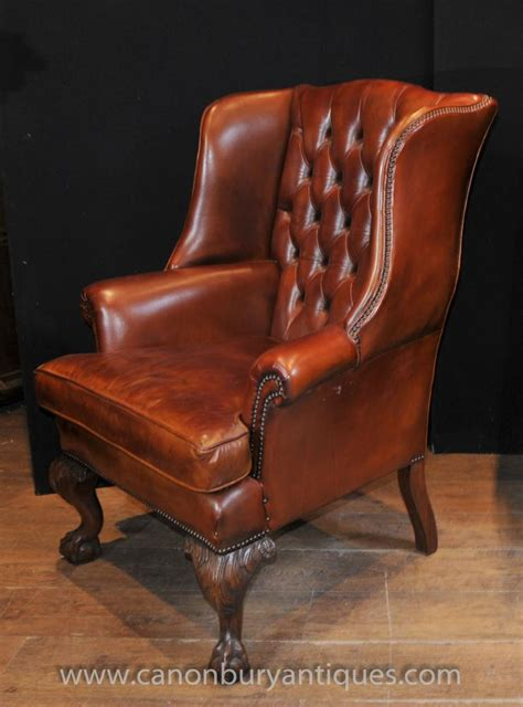 antique leather chair pair antique wingback chesterfield arm chairs 1287