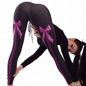 Bow Stretch Digital Print Leggings Push Up Hips Elastic High Waist Sports Gym Yoga Pants Workout ...