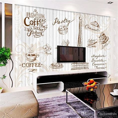 custom wall mural  retro letters wallpaper coffee cafe