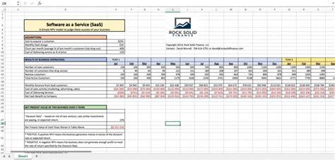 saas excel financial model npv   web business eloquens