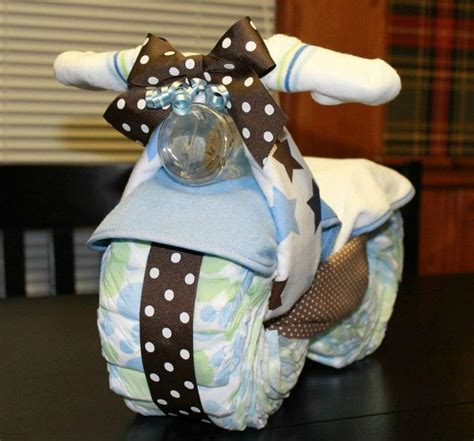 Motorcycle Diaper Cake Baby Shower Gift By