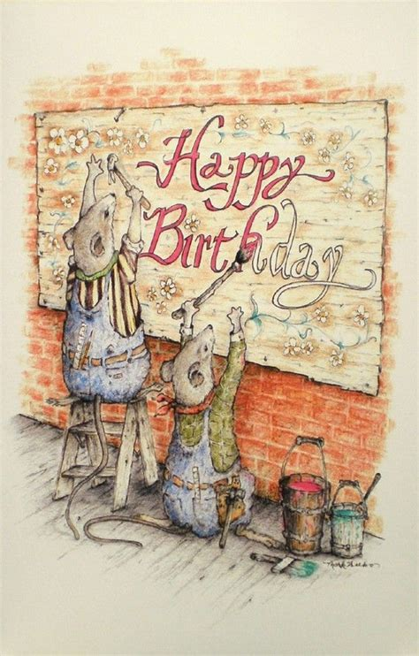 art greeting card happy birthday drawing mouse picture