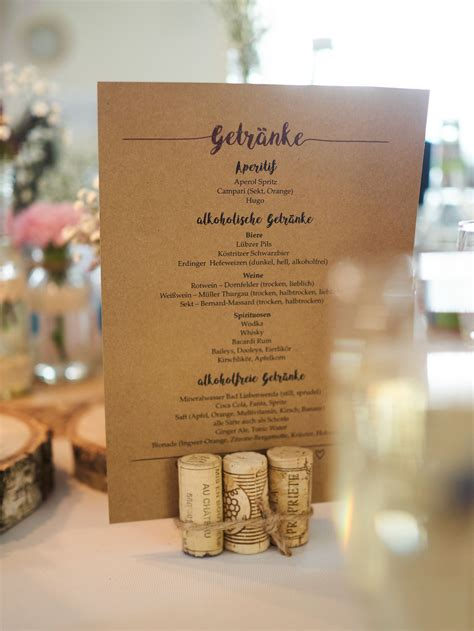 getraenkekarte inspiracje weselne menuekarten hochzeit