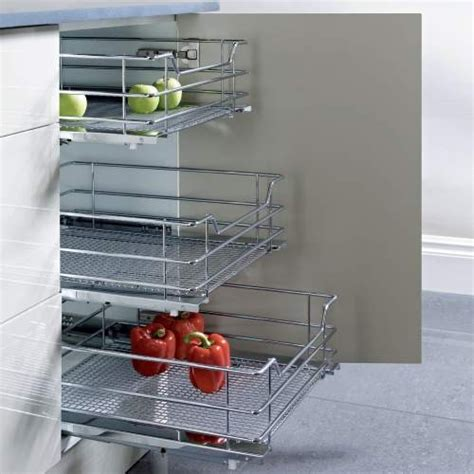 wire storage baskets for kitchen cupboards vauth sagel pull out chrome wire mesh basket for hinged 2129