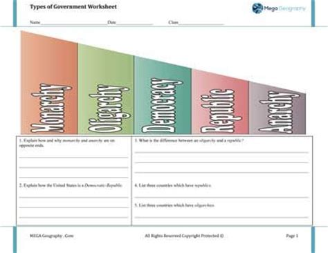 types of government worksheet the best geography curriculum worksheets geography activities