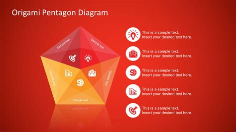 origami style pentagon powerpoint diagram slidemodel