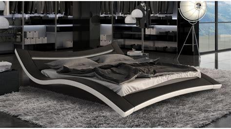 chambre à coucher adulte moderne lit moderne noir et blanc en simili avec leds 160x200 cm