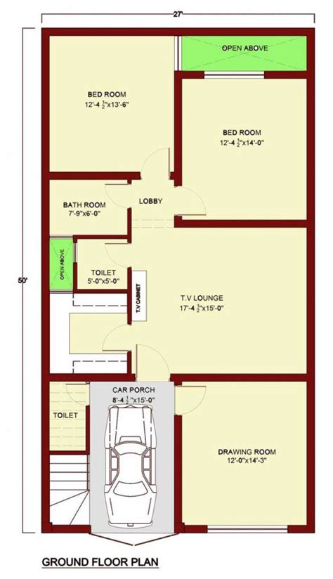 ground floor plan bedrooms bathroom toilet kitchen drawing room tv lounge car porch
