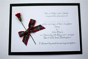 Black red macgregor tartan thistle wedding invitation for Red tartan wedding invitations