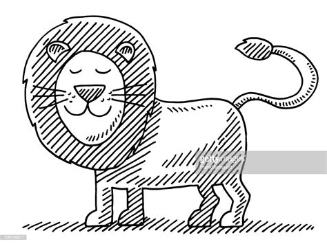 cute lion animal drawing vector art getty images