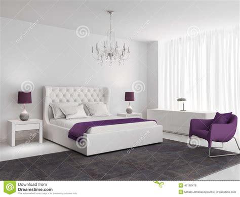 chambre pourpre chambre à coucher de luxe blanche avec le fauteuil pourpre