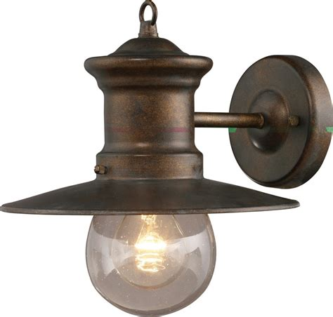 rustic wall sconce light fixture brown iron carriage