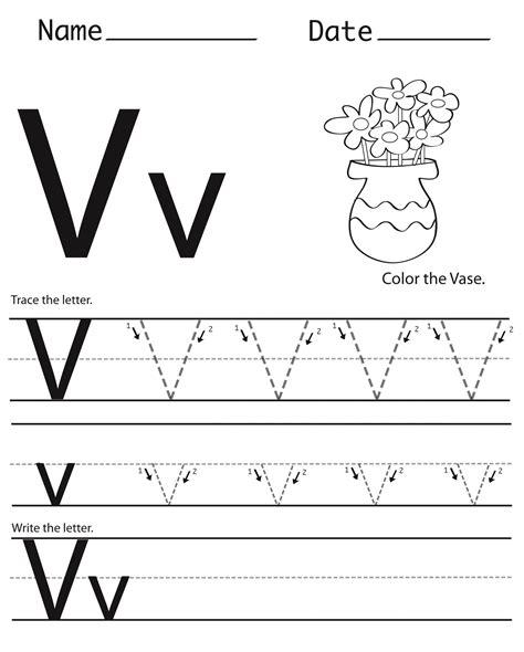 Free Printable Letter V Worksheets For Kindergarten